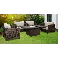 Dark Brown Patio Square Fire Pit Set - Nevis