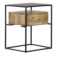 Industrial Iron Frame End Table - Modern Eclectic