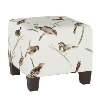 57-2ADBCRGR Audobon Cream and Green Square Ottoman