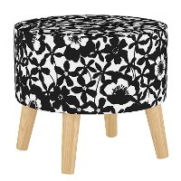 586NATSHDPPBLK Mid Century Black and White Shadow Poppy Round Ottoman