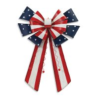 22 Inch Americana Wall Hanging Metal Bow