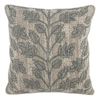 Natural and Green Embroidered Albur Bay Throw Pillow