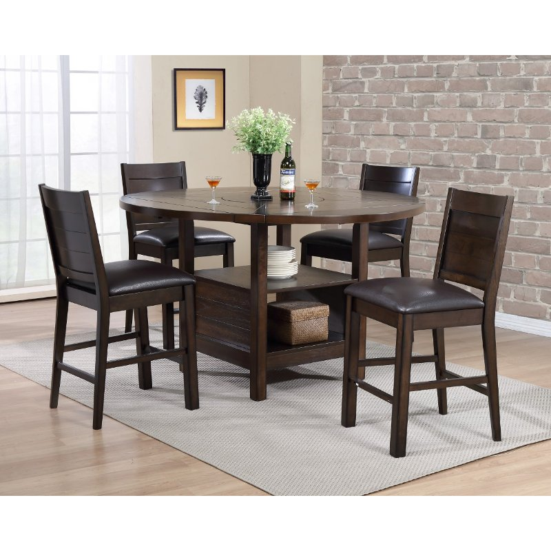 Dark Brown 5 Piece Counter Height Dining Room Set Madison Rc Willey Furniture Store
