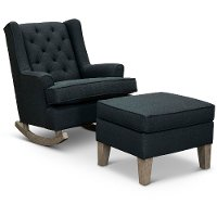 Eclipse Black 2 Piece Rocker Runner with Ottoman - Paisley