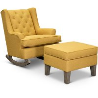 Curry Yellow 2 Piece Rocker Runner with Ottoman - Paisley