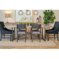 Industrial Wood and Metal 7 Piece Dining Room Set - Logan