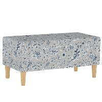 948NATINBLGRY Mid Century Gray Floral Print Storage Bench