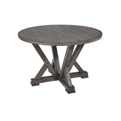 Distressed Gray Round Dining Room Table - Fiji
