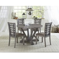Distressed Gray Round 5 Piece Dining Room Set - Fiji