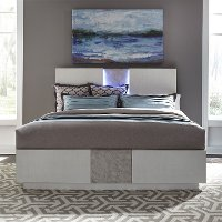 Contemporary White King Bed with LED Lighting - Mirage