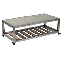 Modern Rectangular Coffee Table with Faux Concrete Top - Blaine