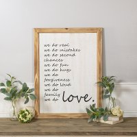 White and Black We Do Love Wooden Sign Wall Decor