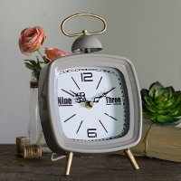 Dark Matte Gray Metal Modern Tabletop Clock