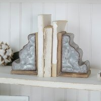 Two Tone Metal and Wood Corbel Bookend Pair