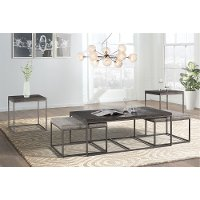 Gray Metal Nesting Coffee Table with 2 Ottomans - 7638