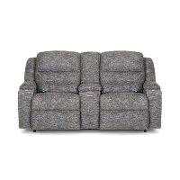 Pewter Gray Power Reclining Console Loveseat - Beacon