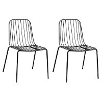 Kids Black Parallel Wire Activity Chair - Set of 2