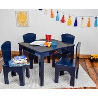 Navy Kid's Table and Stool Set with Storage Bucket