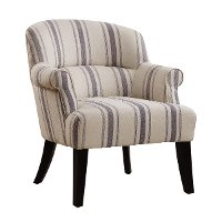 Oatmeal with Blue-Gray Striped Accent Chair - Modern Eclectic