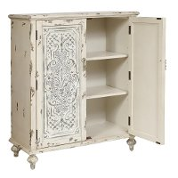 Traditional Antique Cream Tin Panel Accent Chest - Modern Eclectic