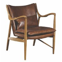 Brown Leather Accent Chair with Wood Frame - Modern Eclectic