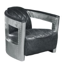 Black Leather Aviation Chair with Riveted Metal Frame - Modern Eclectic