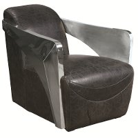 Black Top Grain Leather Accent Chair with Stainless Steel Arms - Modern Eclectic
