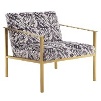 Dark Gray and White Marble Accent Chair with Gold Frame - Modern Eclectic