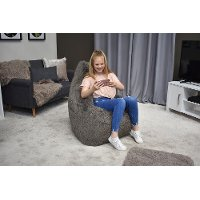 Iron Cloud Gray Fur Inflatable Chair - Big Mouth