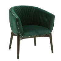 Emerald Green Channel Back Club Accent Chair - Modern Eclectic