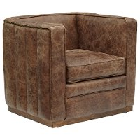 Mocha Brown Leather Tufted Channeled Accent Chair - Modern Eclectic