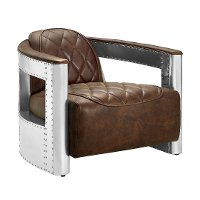 Brown Leather Aviation Chair with Riveted Metal Frame - Modern Eclectic