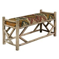 Multi Color Upholstered Southwest Reclaimed Wood Bench - Modern Eclectic
