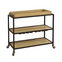 Light Oak and Iron Bar Cart on Caster Wheels - Modern Eclectic