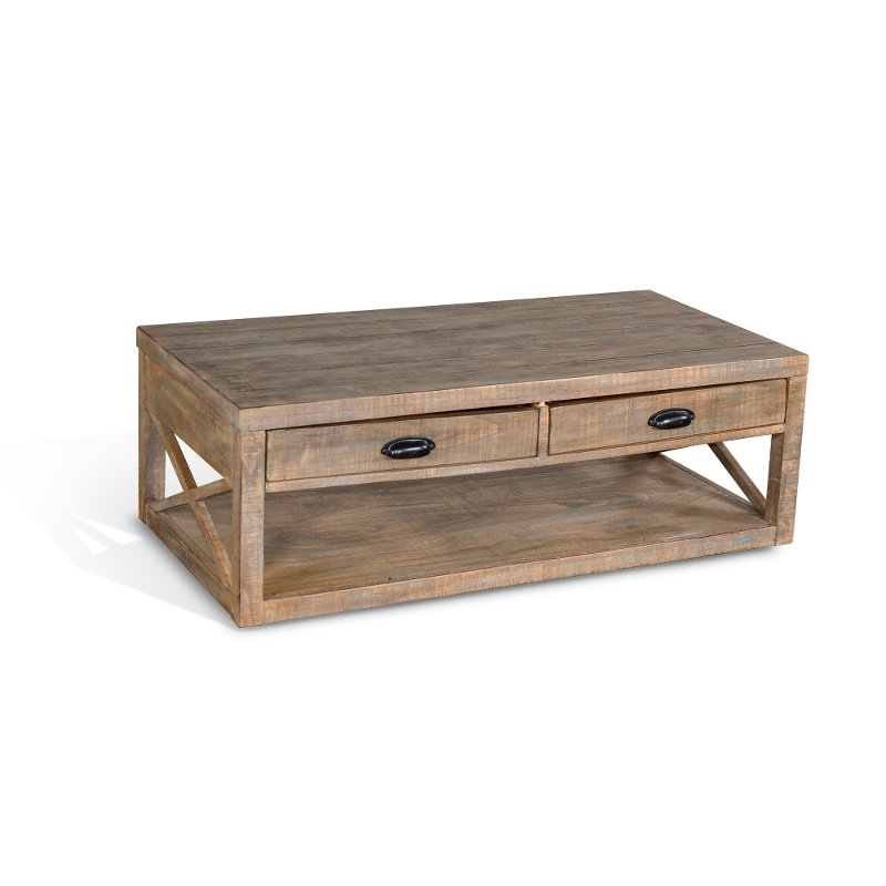 Weathered Gray Coffee Table With Shelf