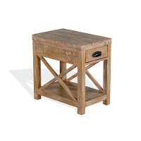 Weathered Brown Rustic Chairside Table - Durango