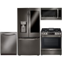 KIT LG 4 Piece Gas Kitchen Appliance Package with 23.5 cu. ft. Smart Refrigerator - Black Stainless Steel