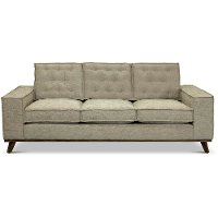 Mid Century Beige Sofa with Squared Arms - Modern Eclectic