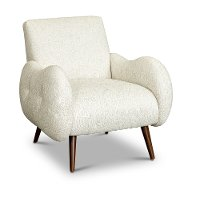 Mid Century Modern Pearl White Accent Chair - Noah