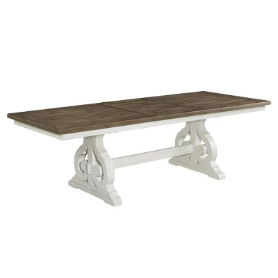 Country White and Brown Trestle Dining Room Table - Drake