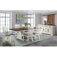 Country White and Brown 5 Piece Dining Room Set - Drake