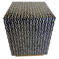 Black and Light Gray Wood Stool with Capiz and Gold Base