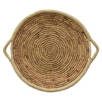 24 Inch Round Water Hyacinth Tray with Handles
