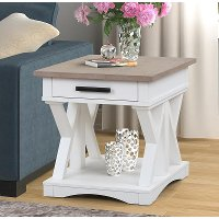 Country White Cotton End Table - Americana