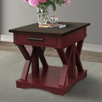 Country Red Cranberry End Table with Drawer