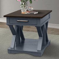 Country Denim Blue End Table with Drawer