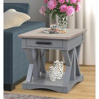 Country Dove Gray End Table with Drawer
