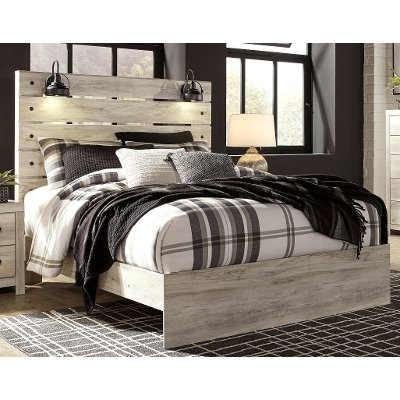 Rustic Whitewash King Size Bed