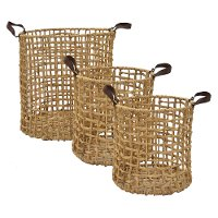 12 Inch Tan Water Hyacinth Basket with Handles