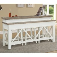 Cotton White Country Bar Table with 3 Stools
